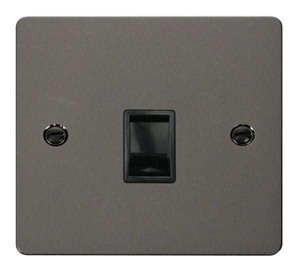 Click Scolmore FPBN115BK Single RJ11 Socket (Ireland/USA) - Black