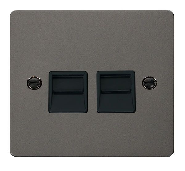 Click Scolmore FPBN126BK Twin Telephone Socket Secondary  - Black