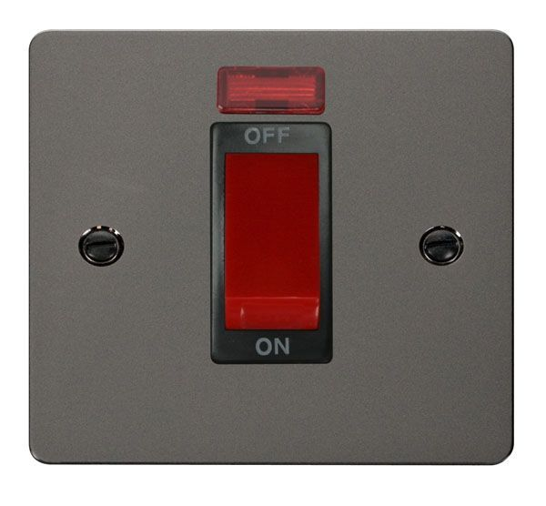 Click Scolmore FPBN201BK 1 Gang 45A DP Switch + Neon  - Black
