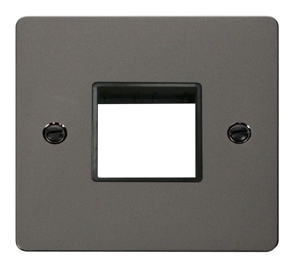 Click Scolmore FPBN402BK 1 Gang Plate Twin Switch Aperture  - Black