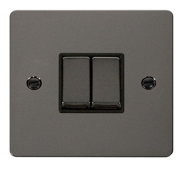 Click Scolmore FPBN412BK Ingot 10AX 2 Gang 2 Way Switch  - Black