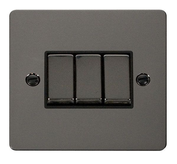 Click Scolmore FPBN413BK Ingot 10AX 3 Gang 2 Way Switch   - Black