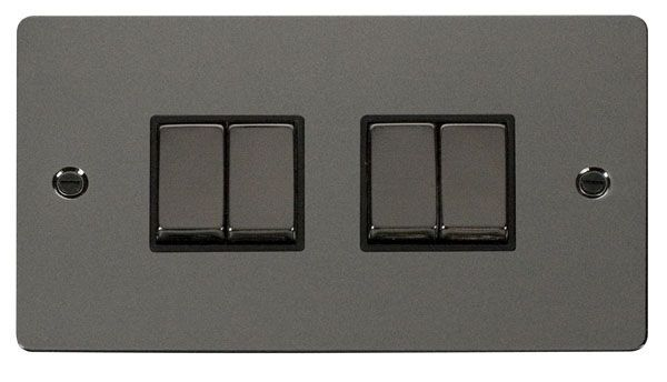 Click Scolmore FPBN414BK Ingot 10AX 4 Gang 2 Way Switch  - Black