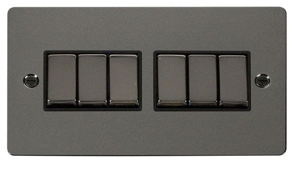 Click Scolmore FPBN416BK Ingot 10AX 6 Gang 2 Way Switch  - Black