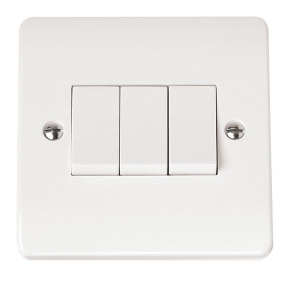 Click Scolmore MODE CMA013 10AX 3 Gang 2 Way Plate Switch