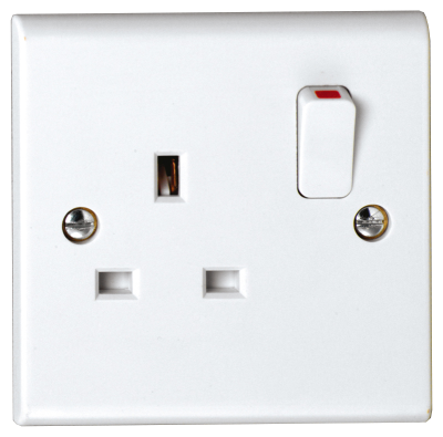 Deta S1207SDP Slimline 1 Gang Double Pole Switched Socket 13A White Moulded