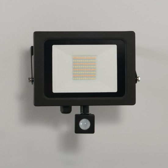 KSR Lighting KSR5287BLK  Siena CCT 50w LED IP65 Floodlight Black c/w PIR