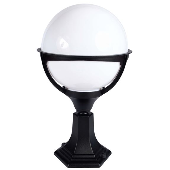 KSR Lighting KSR9972BLK/OP Belo Globe E27 Pillar Lantern Black / Opal