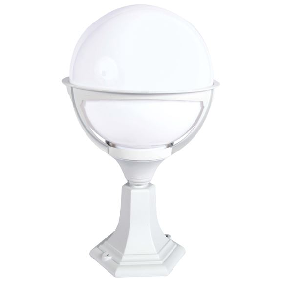 KSR Lighting KSR9972WHT/OP Belo Globe E27 Pillar Lantern White / Opal