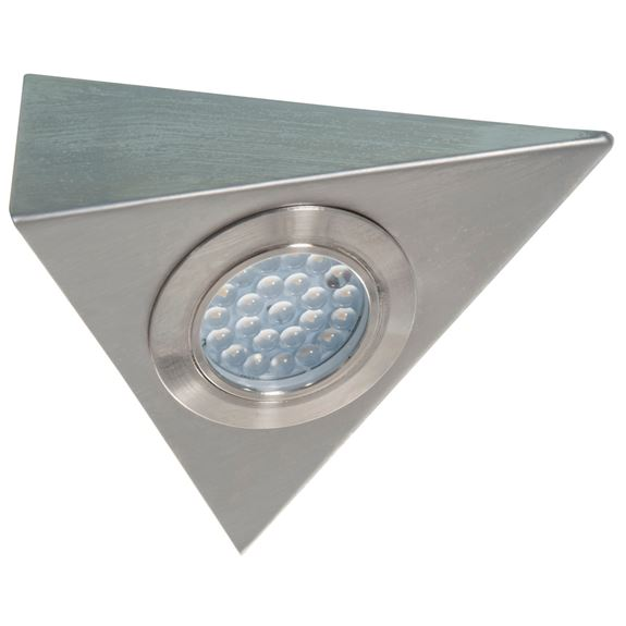 KSR Lighting KSRCL173SC 1.5w 4000K 130lm LED Triangle 240v Cabinet Light Satin Chrome