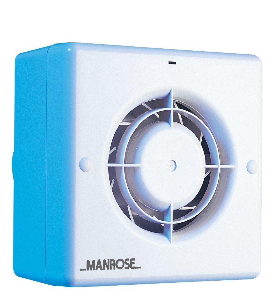 Manrose cf100t toilet bathroom quiet extract fan with timer for Most powerful bathroom extractor fan
