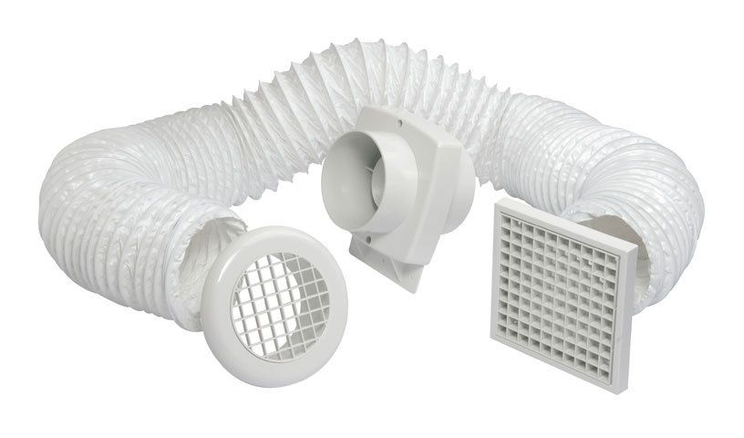 Manrose primero fd100s in line shower extractor fan kit with pvc ducting grille 100mm for In line centrifugal bathroom fan