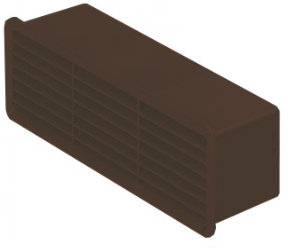 Supertube Rigid Duct Outlet Airbrick with Damper Brown