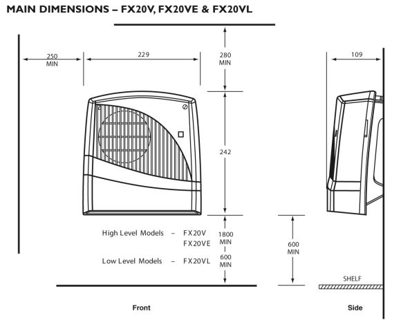 dimplex fx20 downflow fan heater ipx2 rated in white